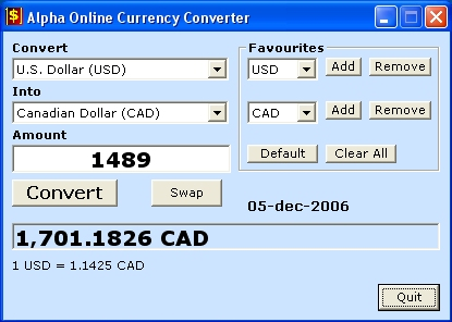 Alpha Online Currency Converter