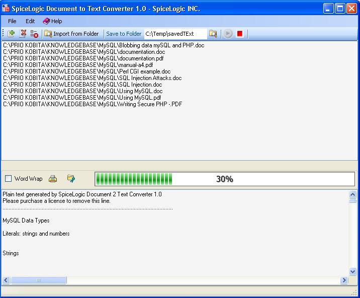 SpiceLogic Document 2 Text Converter