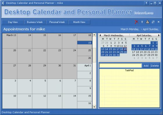 Manage appointments to do lists schedules event planner for Computer planner software