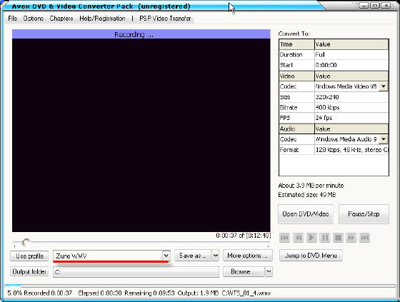converting mpeg to zune wmv avi to psp mp4 mpeg4