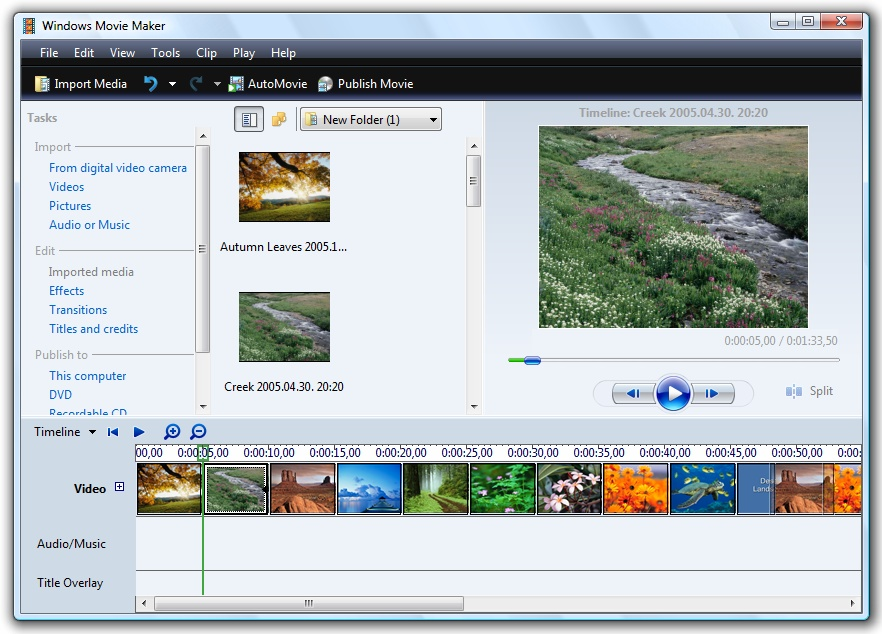 windows movie maker for 7 or vista screenshots