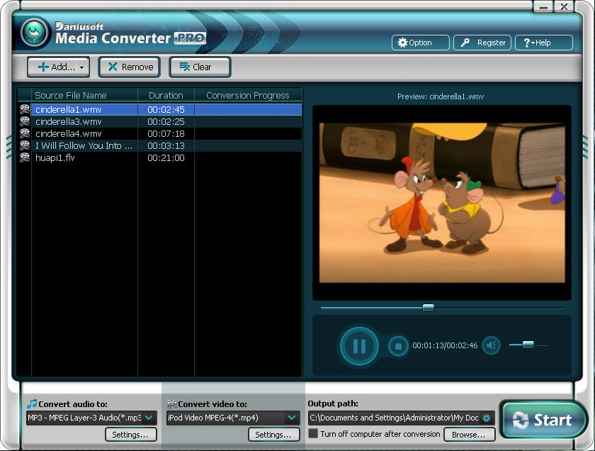 View Daniusoft Digital Media Converter Pro 2.3.2.2 full screenshot.
