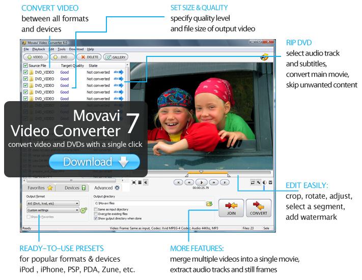 Movavi Видео Конвертер поддерживает все популярные форматы.