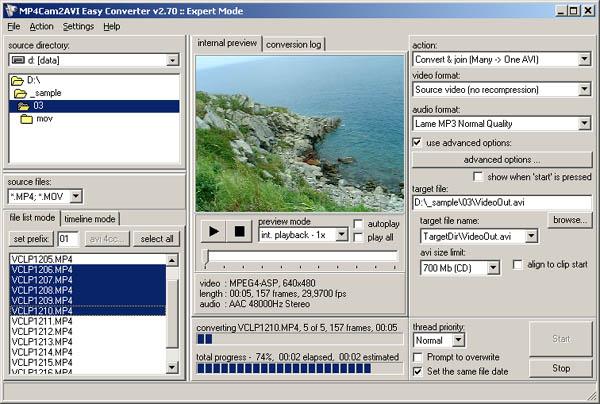 mp4cam2avi easy converter 283 freeware download