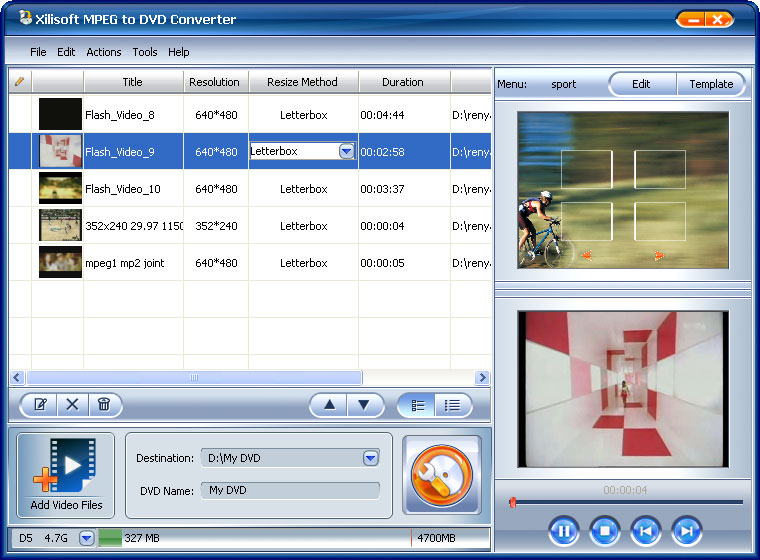 Convert and burn MPEG to DVD disc that can be played on home DVD player.