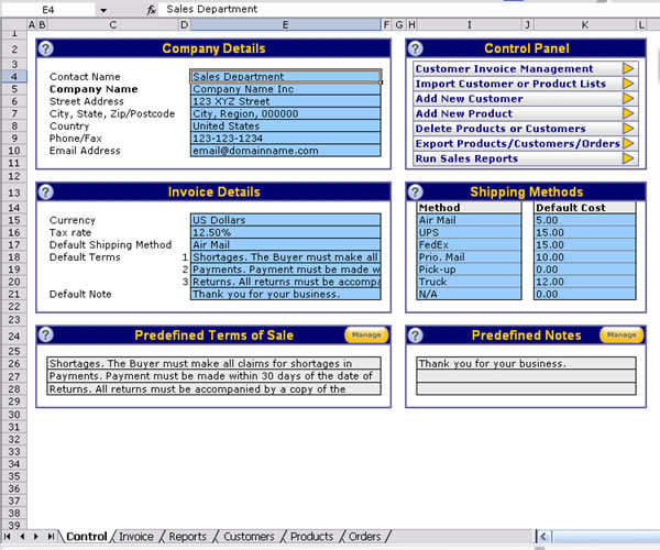 Customer Invoice Template Full Size Screenshot ...  Customer Invoice Template Excel