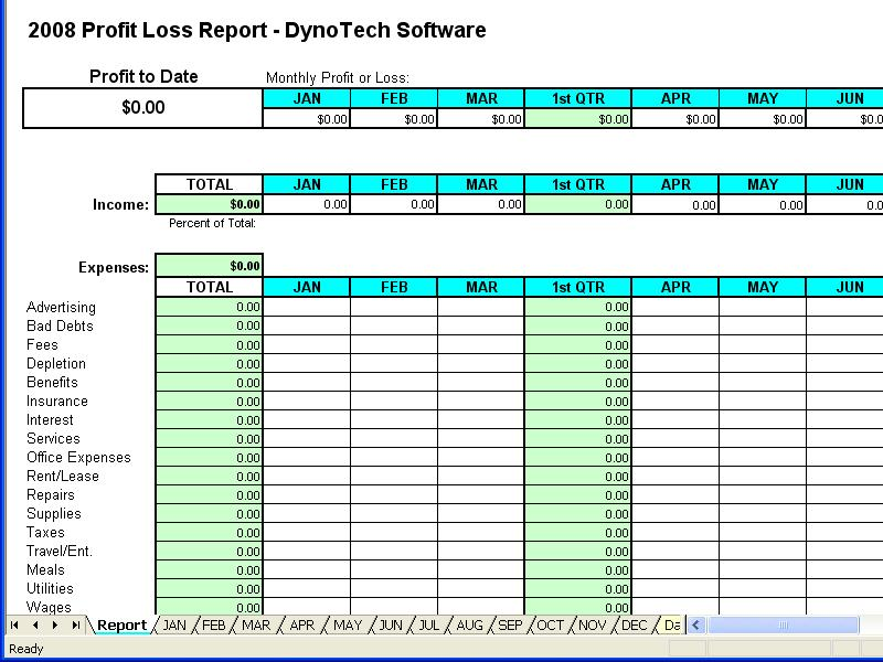 Profit Loss Report Spreadsheet 43 Screenshots – Excel Profit and Loss Template