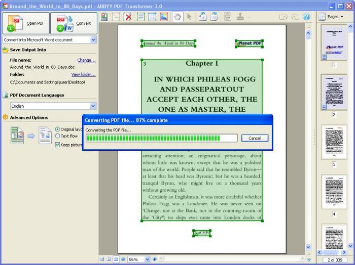 Imagens de ABBYY PDF Transformer.