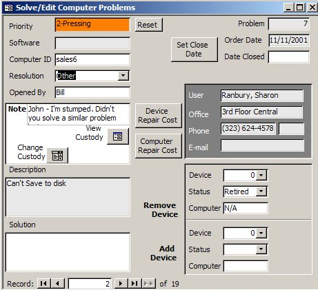 TekTracer is a Helpdesk and Inventory Manager Access database which