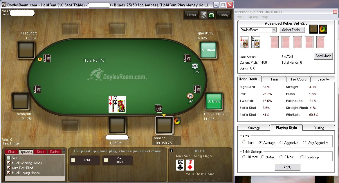 playing online poker with a bot