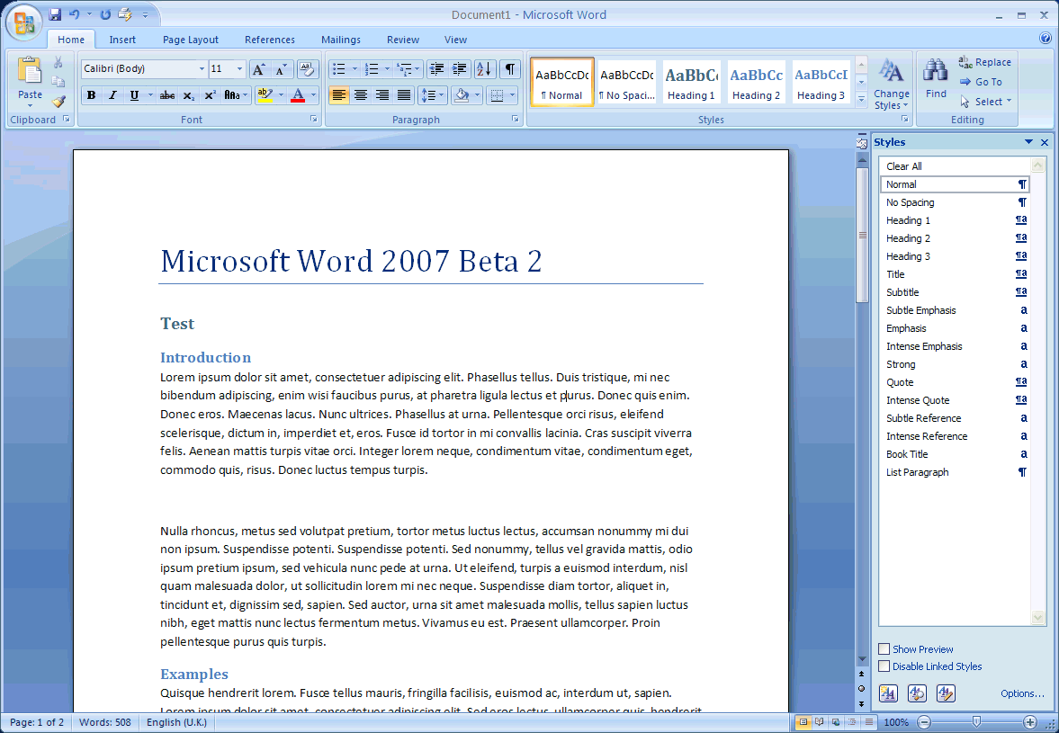 Information & Technology Microsoft Office Word 2007/b.