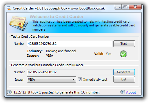 Credit Carder is an application that has been designed to help developers test their credit card validation code. CC generates perfectly valid numbers for ...