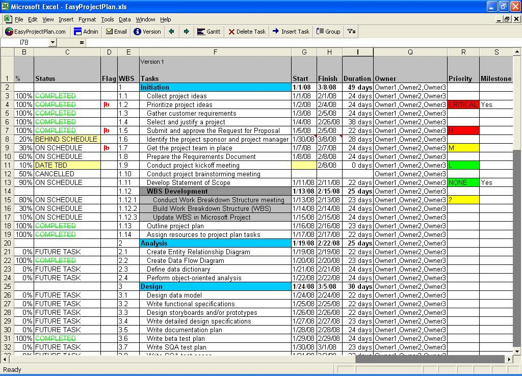 Easyprojectplan Excel Project Plan Gantt 14 1 Free Download