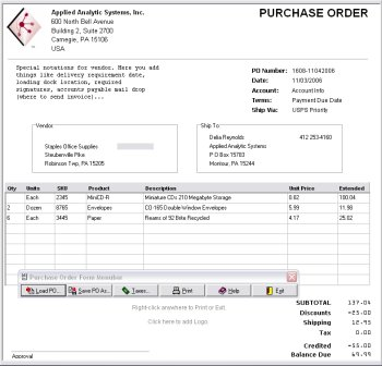Full Size Screenshot, OrderGen Purchase Order Form Publisher Description