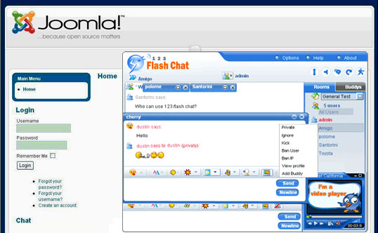 123 Flash Chat Joomla Module/Component 1.5.3.1 Screenshots