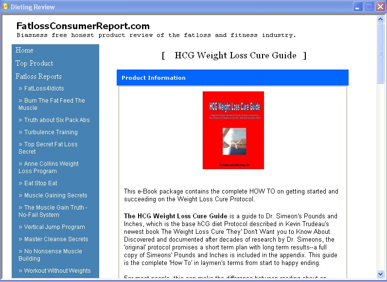 ... Hcg Weight Loss Cure Guide Review 2 1 0 Freeware Download And Software