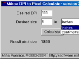 Mihov DPI to Pixel Calculator