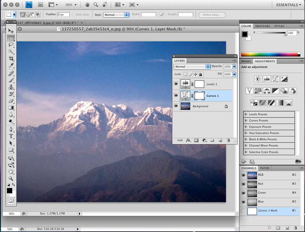 Adobe Photoshop CS4 running on a Mac.