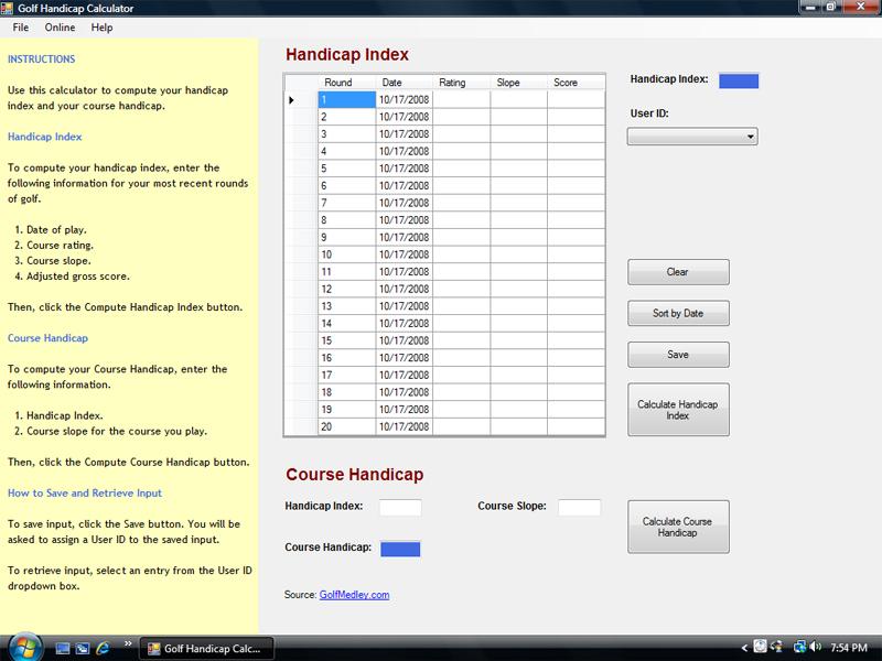 Free Golf Handicap Calculator