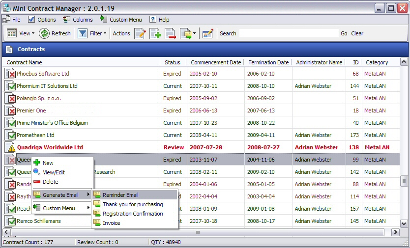 Mini Contract Manager 2.2.2.34 Freeware Download
