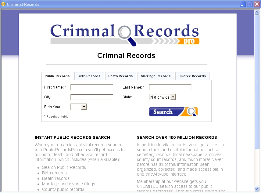 Arrest History Search