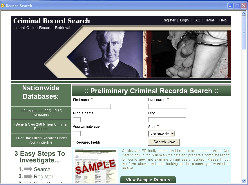 Free Criminal Records Search 3.0 Freeware Download
