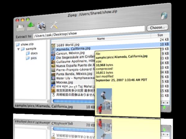 Zipeg for Macintosh 2 9 2 Screenshots