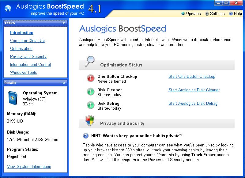 Auslogics BoostSpeed - Cредство для настройки системы на наиболее