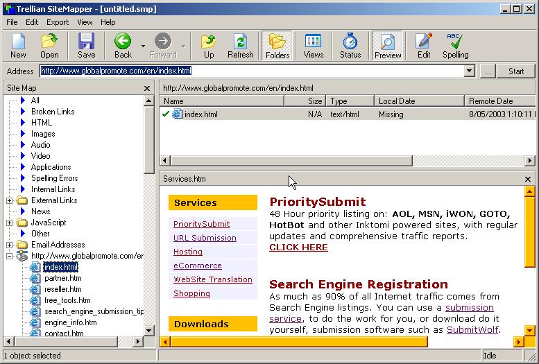 Trellian SiteMapper 1.04 Screenshots