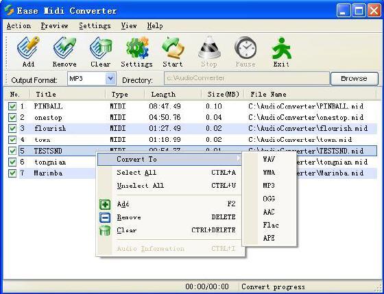 How to convert MIDI to MP3 OGG AAC FLAC WMA APE WAV?